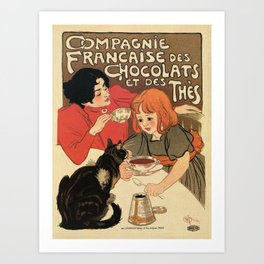 Vintage French tea and hot cocoa advertising Art Print