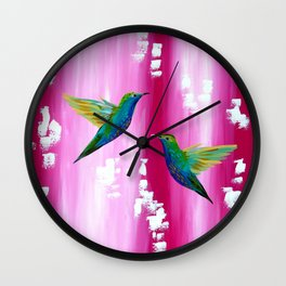 Pink and green with white Wall Clock