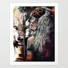 Mononoke San and The Spirit of the Wolf Art Print