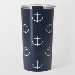 Yacht style. Anchor. Navy blue. Travel Mug