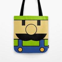 luigi Tote Bags featuring Minimal Luigi by pruine