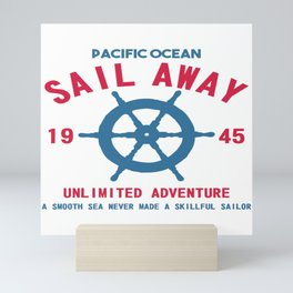 Pacific Ocean Steering Wheel Sailing Sailboat Gift Mini Art Print