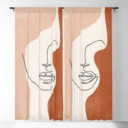 Line Facial Features Blackout Curtain