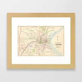 Vintage Map of Hartford Connecticut (1893) Framed Art Print