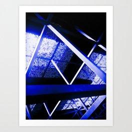 Crazy Blue Lines Art Print