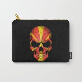 Dark Skull with Flag of Macedonia Carry-All Pouch