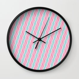 Light Pink and Blue Stripes Wall Clock