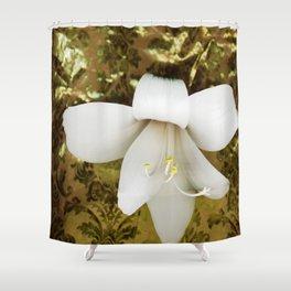 Innocent in golden green Shower Curtain