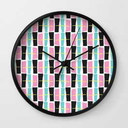 Memphis Style Geometric Abstract Seamless Drawn Pop Art Wall Clock