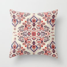 Modern Folk in Coral Red and Indigo Throw Pillow