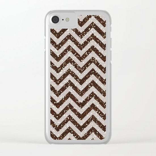 Sparkling brown glitter chevron pattern - coffee IV Clear iPhone Case