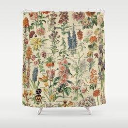 French Vintage Flowers Chart Adolphe Millot Fleurs Larousse Pour Tous Poster  Shower Curtain