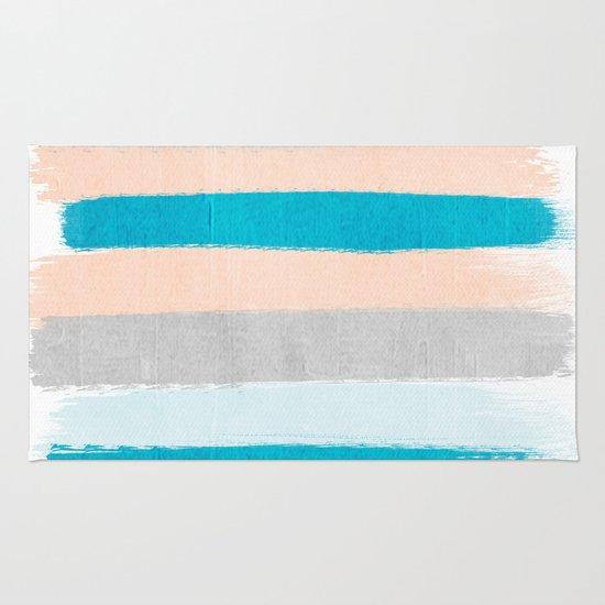 Minimalist Colorful Rug Designs: Painted Stripes Minimal Bright Summer Palette Boho Striped