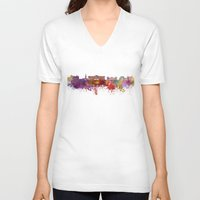 oslo V-neck T-shirts featuring Oslo skyline in watercolor background by Paulrommer