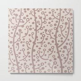 Mid Century Modern Spring Blossoms Beige 3 Metal Print