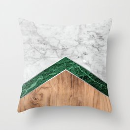Arrows - White Marble, Green Granite & Wood #941 Throw Pillow