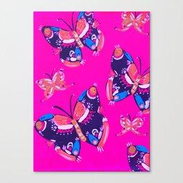 Pink Folk Butterflies Canvas Print