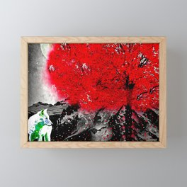 TREE RED WOLF WHITE Framed Mini Art Print
