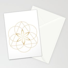 Modern Minimalist Sacred Geometry Symbol, Geometric Flower of Life in Gold and White Abstract Luxury Stationery Cards