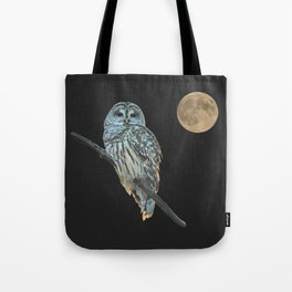 Owl, See the Moon (Barred Owl) Tote Bag