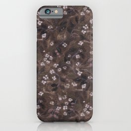 Apple Blossom, Floral Pattern, Faux Wool Texture, Sepia Brown Taupe iPhone Case