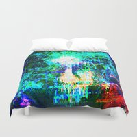 "hologram Duvet Covers featuring "" The voice  is a second face"" by shiva camille"