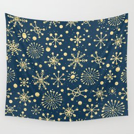 Hand Drawn Snowflakes Golden Wall Tapestry