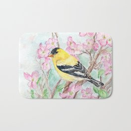 Goldfinch and Dogwood Flowers Bath Mat