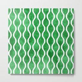 Retro Tie Dye Ogee Pattern 315 Green Metal Print
