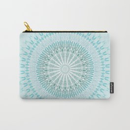 Turquoise White Mandala Carry-All Pouch