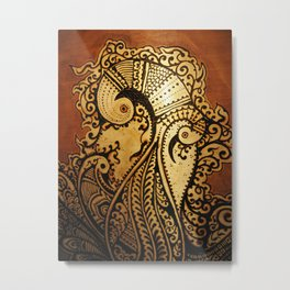Peacock Passion in Henna Metal Print