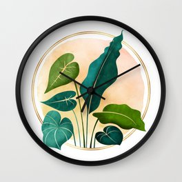 Opening Act / tropical greenery with metallic accent Wall Clock
