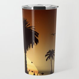 Sunsets and sunrises over the savanna with palm trees Travel Mug