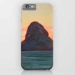 Mokoli'i Island at Twilight pacific landscape painting by D. Howard Hitchcock iPhone Case