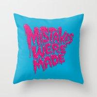 onesie Throw Pillows featuring Mistakes were made. by Chris Piascik