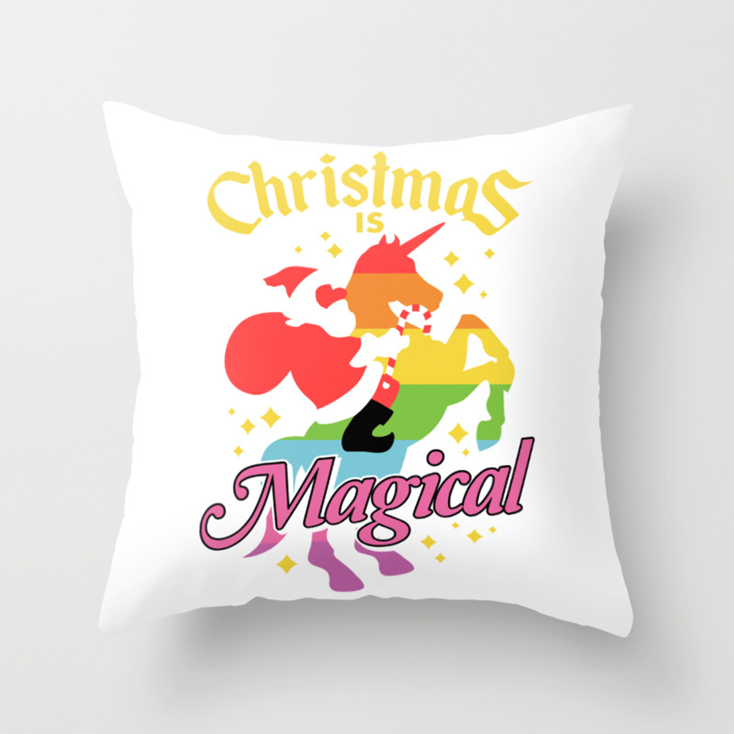 Picture of: Christmas Is Magical Santa Claus Riding Unicorn Funny Holiday Throw Pillow By Sonyadehart Society6
