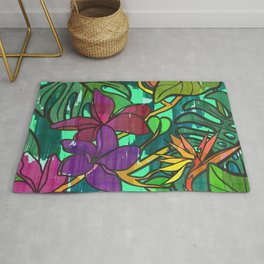 Tropical leaves, jungle print Rug