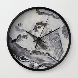 Owl Mocked By Small Birds - Digital Remastered Edition Wall Clock