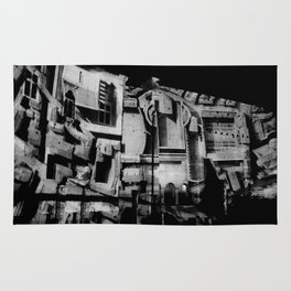 Antique Rome, black white columns, structure, city walls, abstract Rug