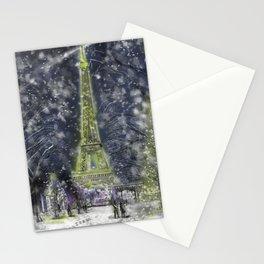 La Tour Eiffel du Hivre le minuit Stationery Cards