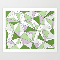 Geo - green, gray and white. Art Print