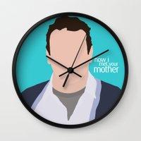 himym Wall Clocks featuring Marshall Ericksen HIMYM by Rosaura Grant