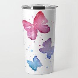 Butterflies Watercolor Abstract Splatters Travel Mug