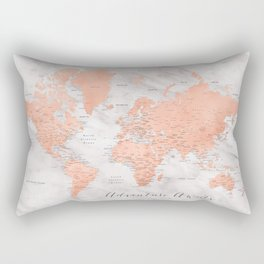 "Adventure awaits world map in rose gold and marble, ""Janine"" Rectangular Pillow"