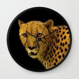 Cheetah Disappearing into Black Velvet Wall Clock