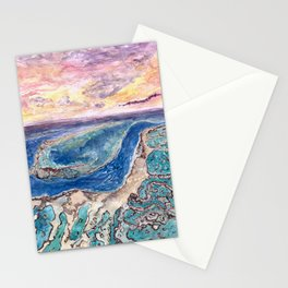 Great Barrier Reef at sunset - aerial view - coral reef - wall art Stationery Cards