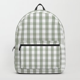 Desert Sage Grey Green and White Gingham Check Backpack