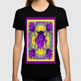 Dark Purple Iris Yellow-purple Geometric Art T-shirt