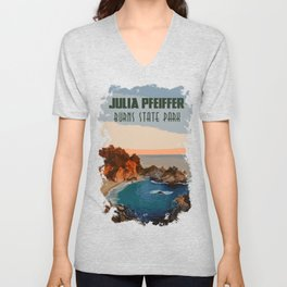 Julia Pfeiffer state park, California Unisex V-Neck