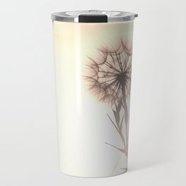 Pink Distant Dandelion Flower - Floral Nature Photography Art and Accessories Travel Mug